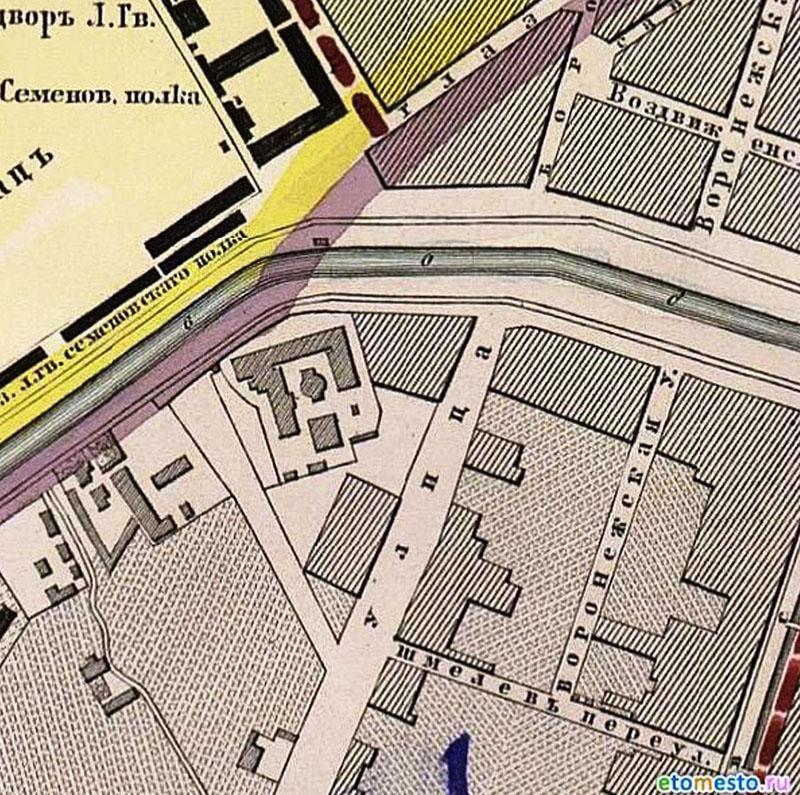 План Санкт-Петербурга, снятый в 1858 году и гравированный при военно-топографическом депо в 1860 году с приложением ведомости