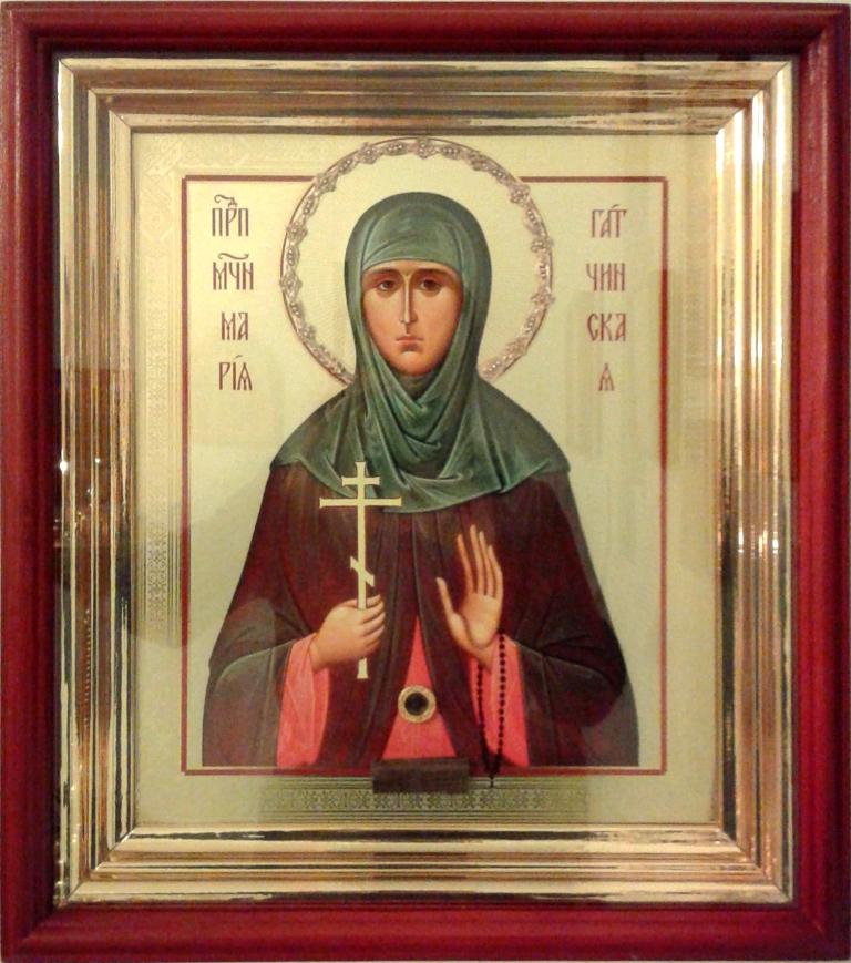 Икона преподобной Марии Гатчинской с частицей мощей