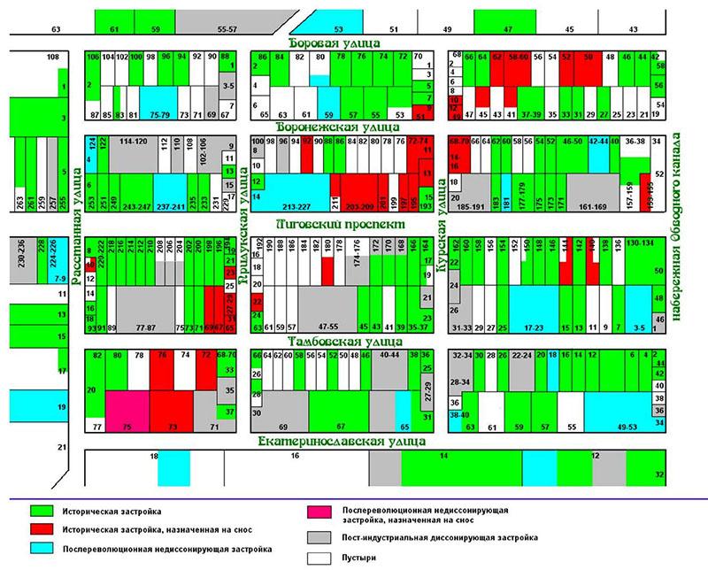 Схема застройки южной части Московско-Ямской слободы