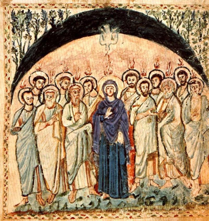Сошествие Святого Духа. Евангелие Рабулы, VI век