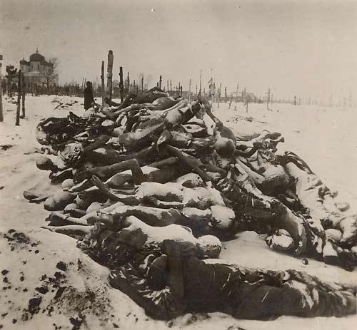 Трупы умерших от голода, собранные за несколько декабрьских дней 1921 на кладбище в Бузулуке, 1921 год.