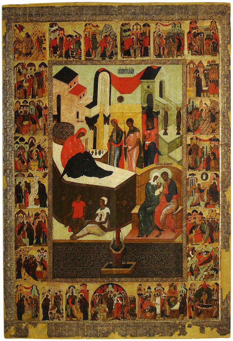 Икона «Рождество Богоматери со сценами жития» из Рождественского собора Антониева монастыря. 1560-е гг. НГОМЗ.